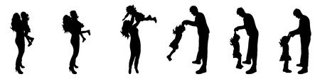 felicity: Vector illustration silhouettes of family on a white background Illustration