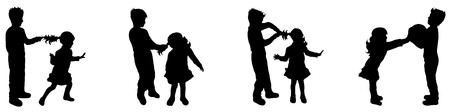 black baby boy: Vector illustration silhouettes of boy and girl Illustration