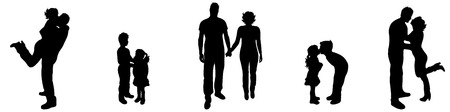 lucky man: Vector illustration silhouettes of family on a white background Illustration