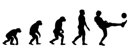 darwin: Vector evolution soccer silhouette on white background