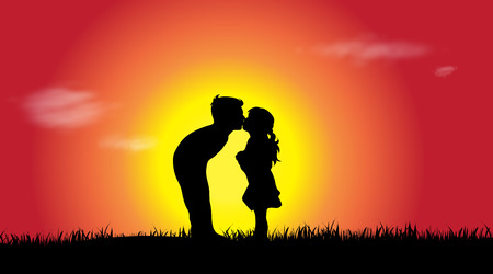 siblings: Vector silhouette of a siblings at sunset. Illustration