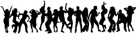 young group: Vector illustration silhouettes happy dancing people on white background Illustration