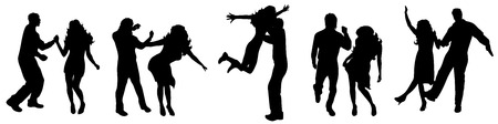silhoette: Vector illustration silhouettes happy dancing people on white background Illustration