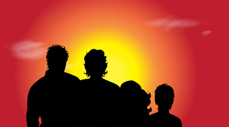 Vector silhouette of family in nature at sunset.
