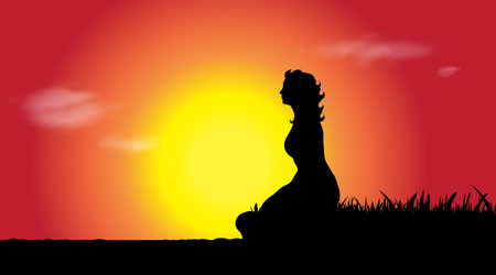 Vector silhouette of young woman at sunset.