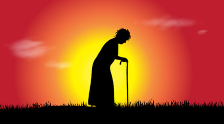 Vector silhouette of woman who walk at sunset.