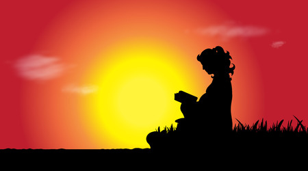 Vector silhouette of pregnant woman who read at sunset.