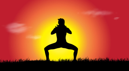 Vector silhouette of woman who sports at sunset.