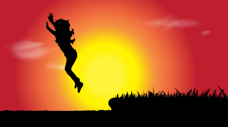 Vector silhouette of girl who jumps to water at sunset. Illustration