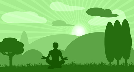 joga: Human meditation in nature with mountains, clouds and sunshine Illustration