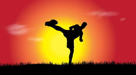 Vector silhouette of man who sports at sunset. Illustration