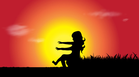 Vector silhouette of girl who sitting by the water at sunset.