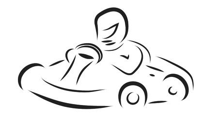 karting: Vector illustration of kart on white background.