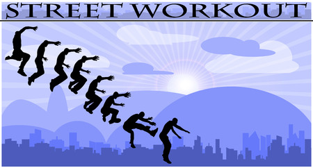 calisthenics: Vector illustration silhouettes of street workout people on city background
