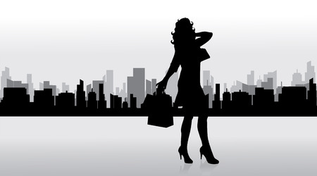 shoppingbag: Vector silhouette of woman who shopping in big town.