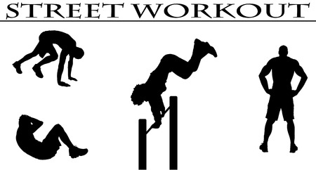 calisthenics: Vector illustration silhouettes of street workout people Illustration
