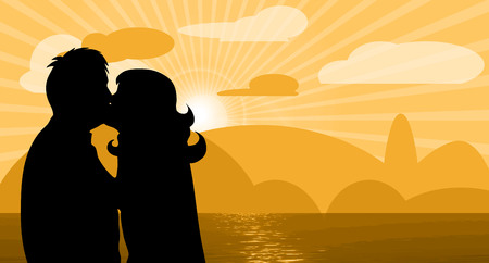 couple beach sunset: Vector illustration with sunset and loving couple Illustration