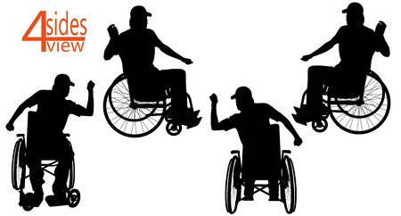 sides: vector illustration people Wheelchair on a white background