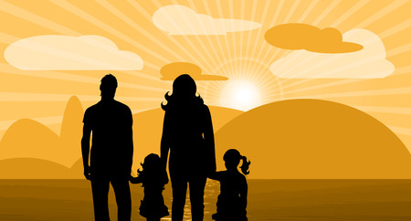couple beach sunset: Vector illustration with sunset clouds and family