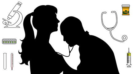 detail vector silhouette of doctor and woman