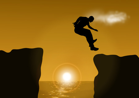 difficult lives: illustration man jumping over cliff on sunset background