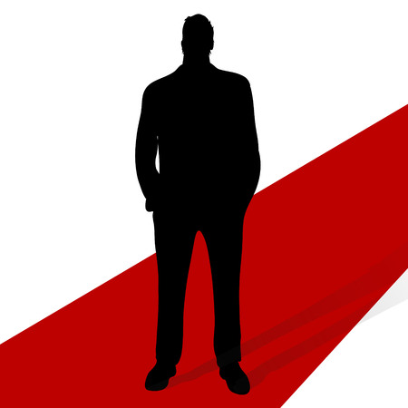 vector illustrattion man silhouette on a red carpet