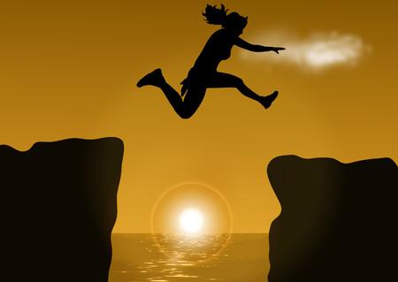 illustration woman jumping over cliff on sunset background Illustration