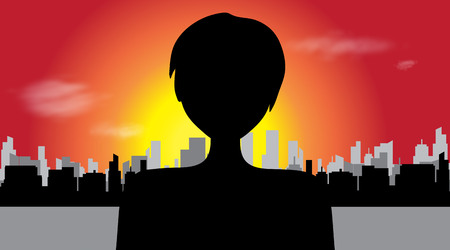 Vector silhouette of woman in big town.