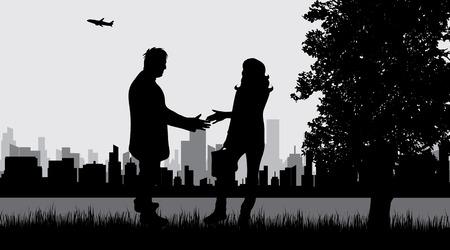 Vector illustration of couple in the city park. Ilustração