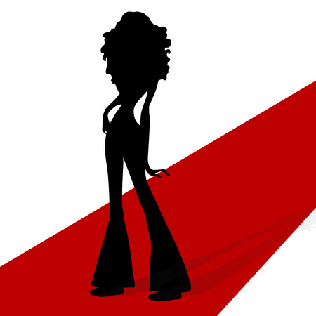 vector illustrattion woman silhouette on a red carpet Illustration
