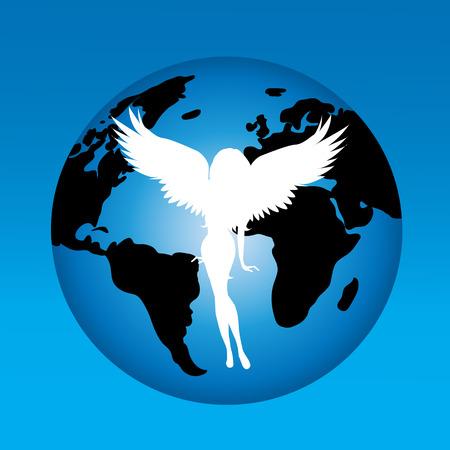 Vector illustration of angel on the world.