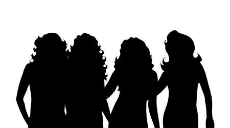noname: Vector silhouette of girl on white background. Illustration