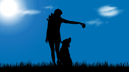 Vector silhouette of woman with dog on garden.