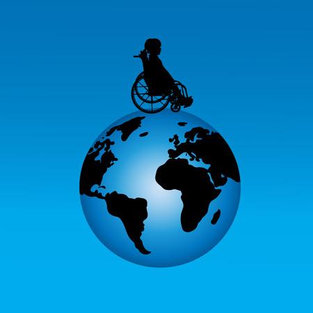 Vector silueta de niña sentada en la silla de ruedas en el mundo.