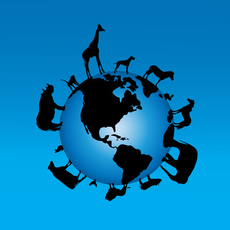 Vector illustration of the globe with animal on blue background.