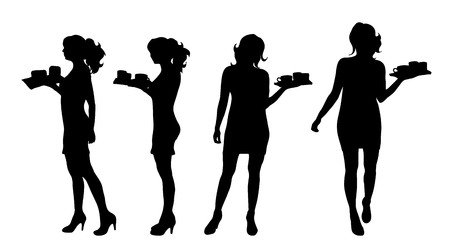 Vector silhouette of waitres on white background.