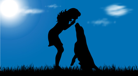 labrador: Vector silhouette of woman with dog on garden.