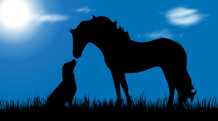 Vector silhouette of dog and horse on garden.