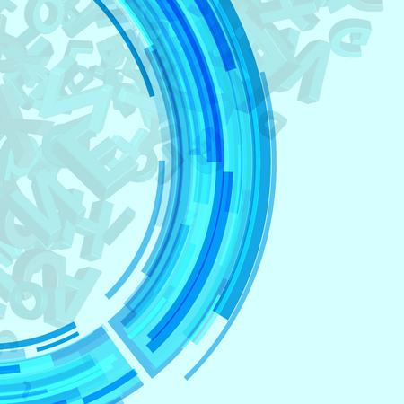 Vector illustration of colorful alphabet on blue background