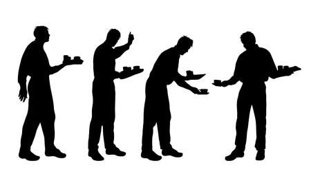 hotel staff: Vector silhouette of waiter on white background. Illustration