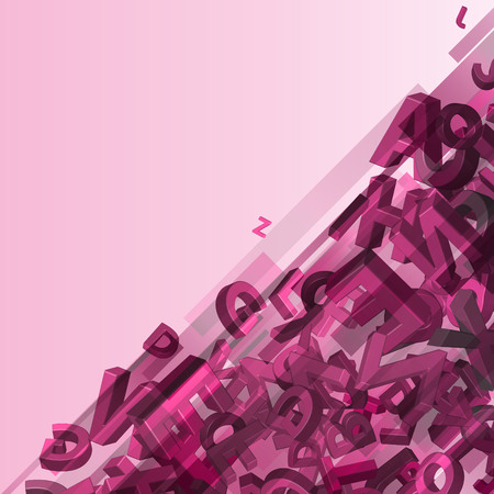 Vector illustration of colorful alphabet on pink background