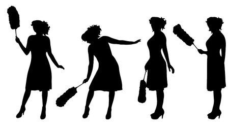 vectro: Vectro silhouette of woman who cleans on white background.
