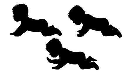 nursling: Vector silhouette of children on white background.
