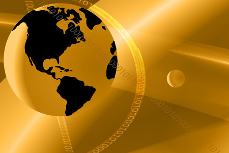 Vector illustration earth on abstract gold background