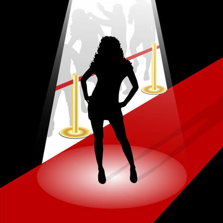 actress: vector illustrattion woman silhouette on a red carpet Illustration