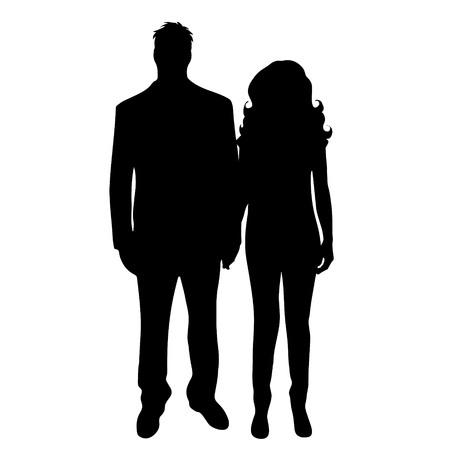 Vector silhouet van paar op een witte achtergrond.