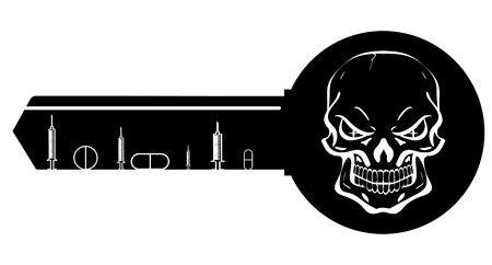 diabetes syringe: Vector illustration syringe ampules and skull key