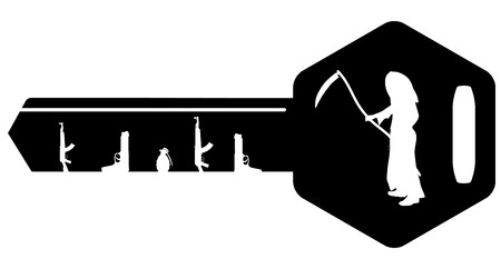 Vector illustration weapons and death on the key