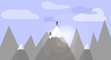 moutain: Flat design illustration mountains nature and people