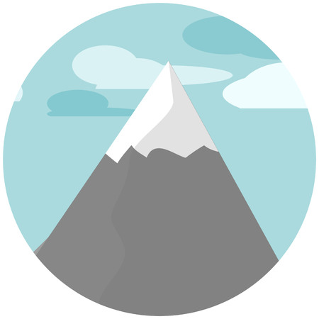 moutain: Flat design illustration mountains nature in the telescope